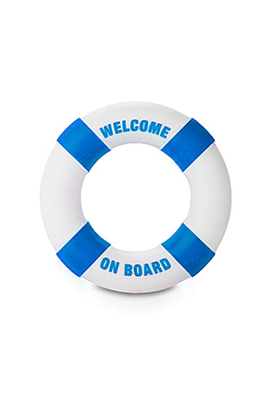 Anello Fallico Buoy Welcome on Board Diam 3cm Azzurro