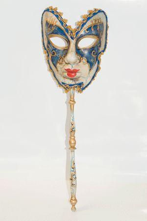 Maschera Veneziana con Manico Decorato